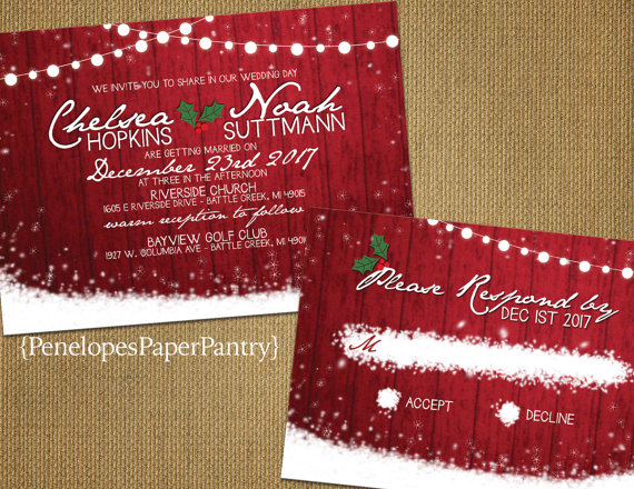 Red Barn Wood Twinkle Light Christmas Wedding Invitation