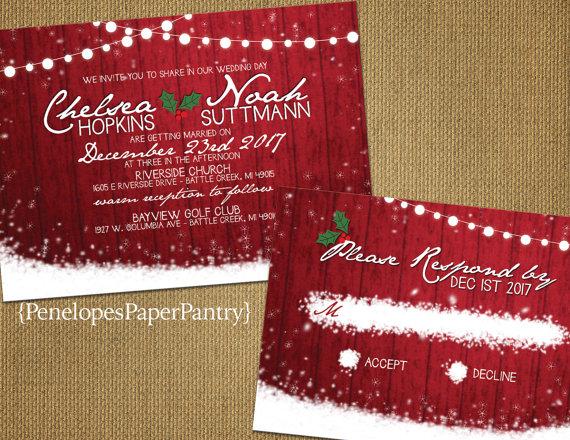 Red Barn Wood Twinkle Light Christmas Wedding Invitation