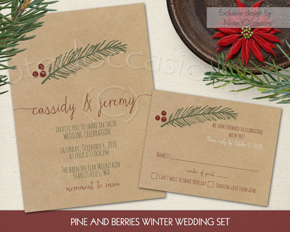 Pine & Berries Christmas Wedding Invitation