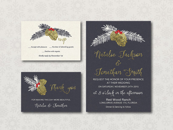 Black & Gold Christmas Wedding Invitation