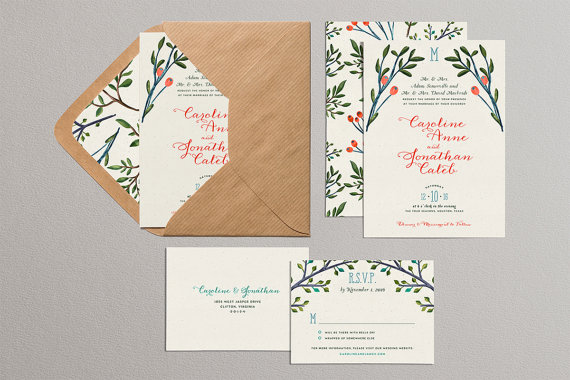 Pine Branches and Holly Christmas Wedding Invitations