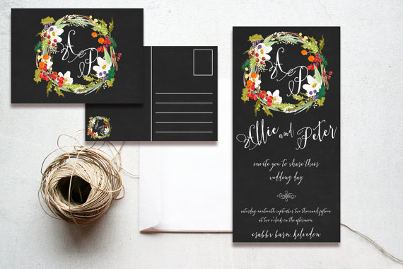 Chalkboard Winter Berries & Holly Wreath Christmas Wedding Invitations