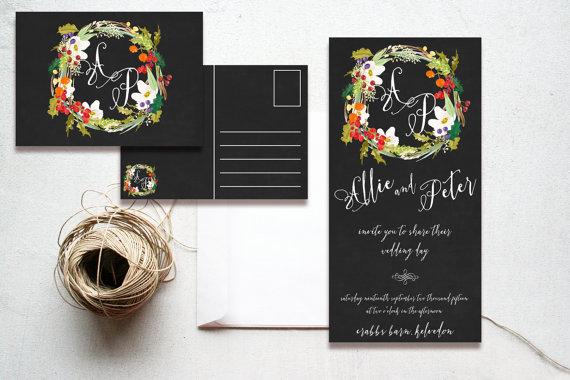 Chalkboard Winter Berries & Holly Wreath Christmas Wedding Invitations