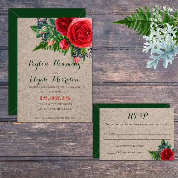 Christmas Holiday Red Flower Wedding Invitation