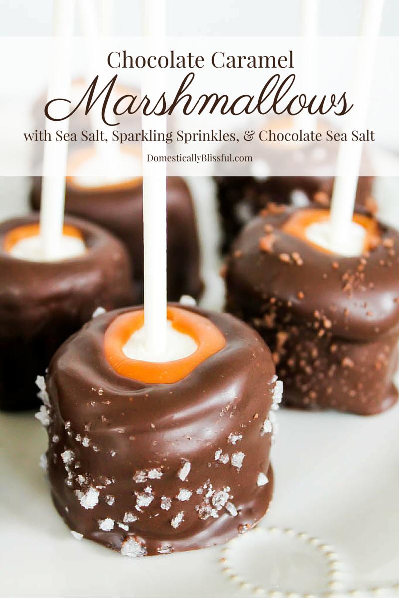 Chocolate Caramel Marshmallows with sea salt, sparkling sprinkles, and chocolate sea salt