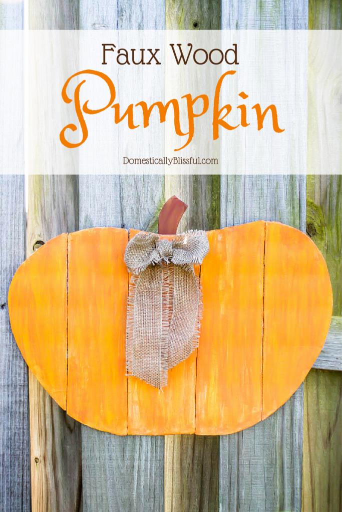 Faux Wood Pumpkin