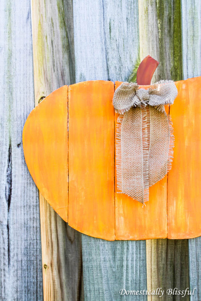 Orange Faux Wood Pumpkin