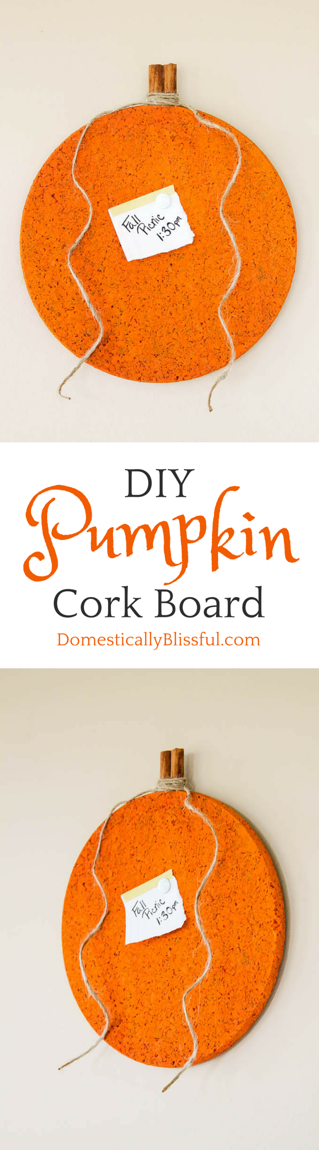 Pumpkin Cork Board tutorial via Domestically Blissful