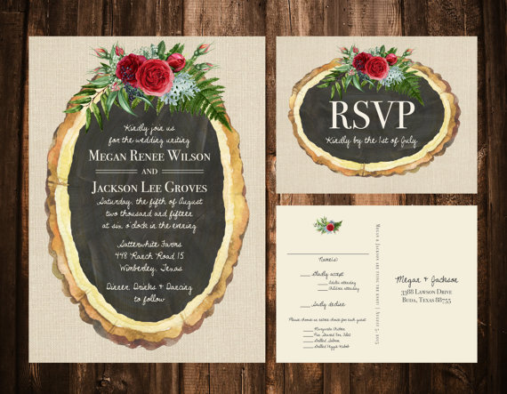 Rustic Bohemian Wood Slice Christmas Florals Wedding Invitations
