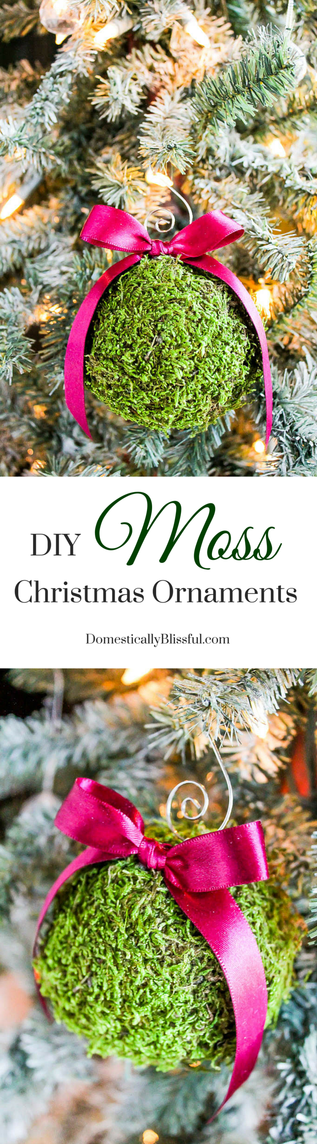 Create one-of-a-kind shatterproof Moss Christmas Ornaments for your Christmas tree this holiday season with this simple tutorial!