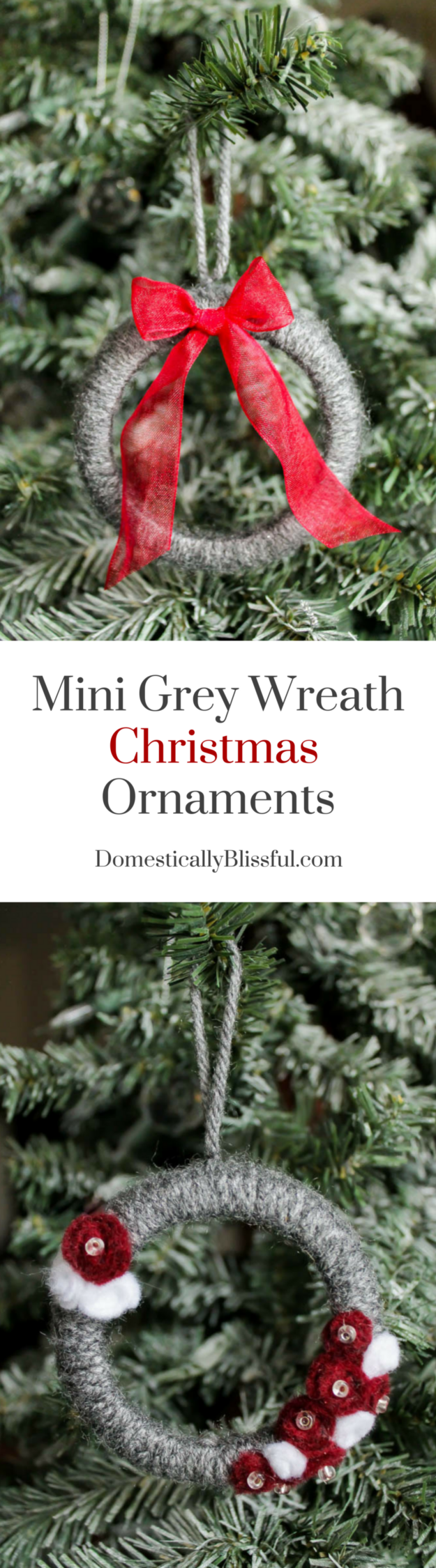 Create these adorable Mini Grey Wreath Christmas Ornaments from soft yarn for your Christmas tree this year! Plus there is a tip on how to make these mini wreaths while repurposing & upcycling!