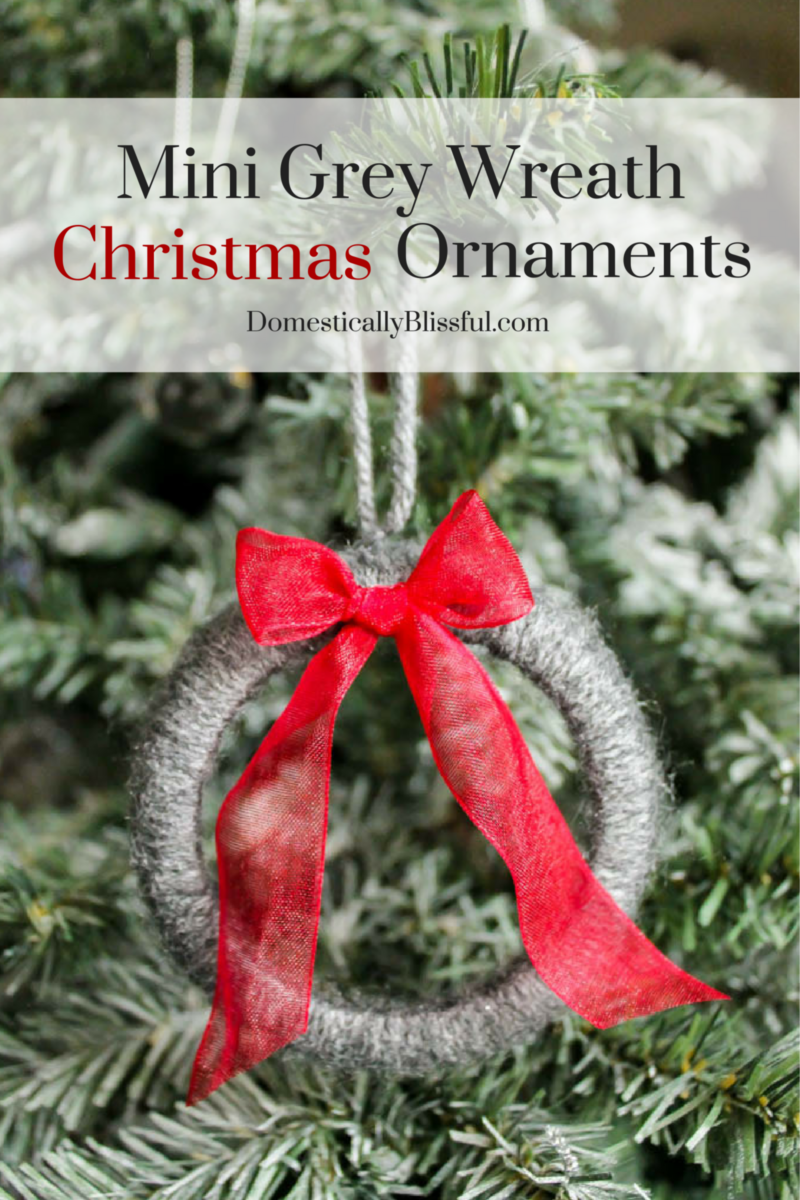Create these adorable Mini Grey Wreath Christmas Ornaments from soft yarn for your Christmas tree this year!