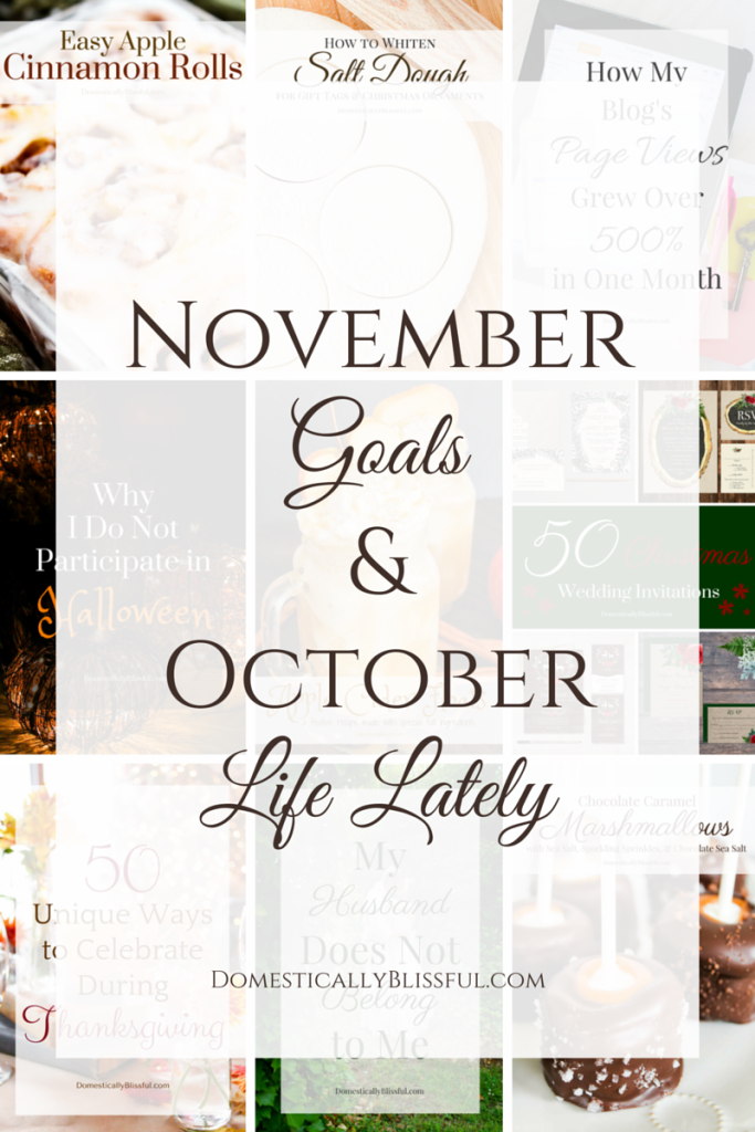 November Goals and October Life Lately