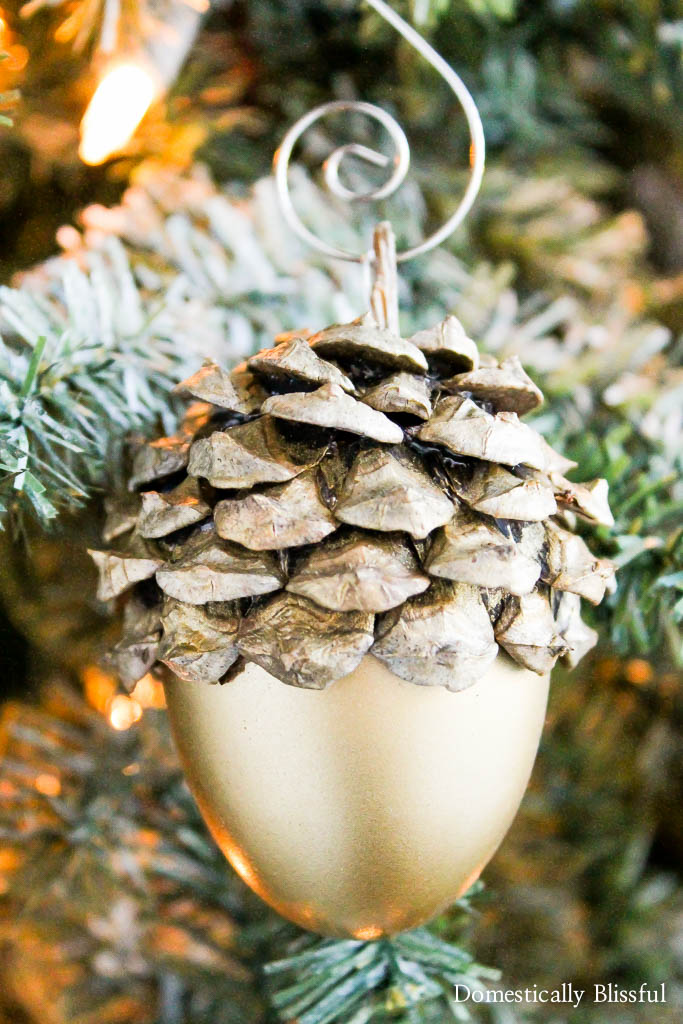 Gold Acorn Christmas Ornament