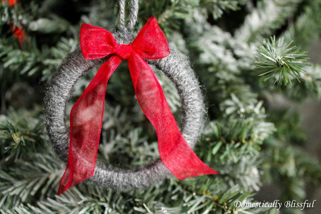 Grey Wreath with Red Bow Christmas Ornament