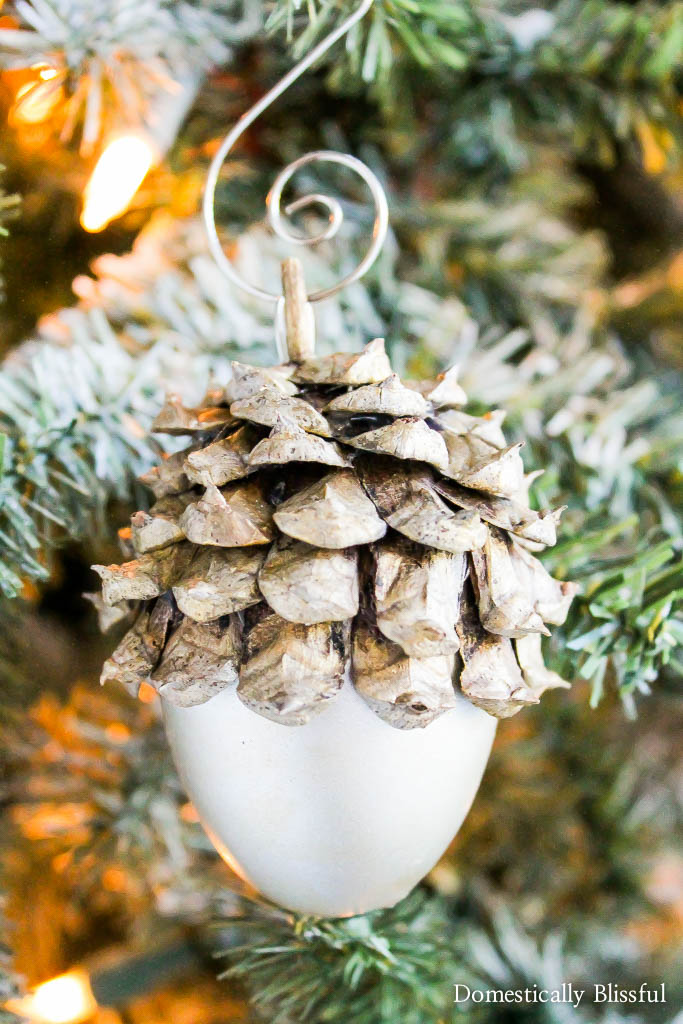 Silver Acorn Christmas Ornament
