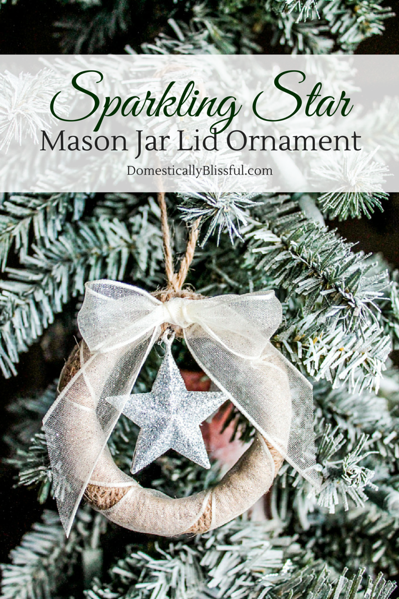Sparkling Star Mason Jar Lid Ornament tutorial