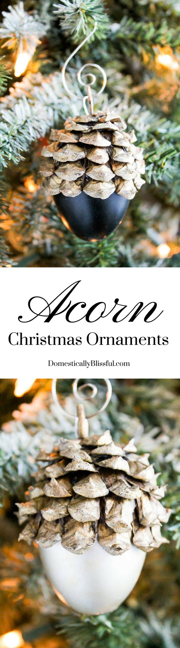 These Faux Acorn Christmas Ornaments are created from plastic Easter eggs & can be personalized to your taste for an adorable addition to your Christmas tree!