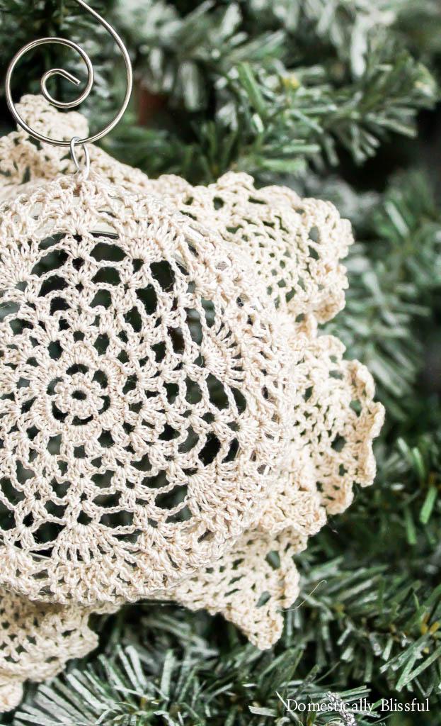 Vintage Doily Christmas Ornament