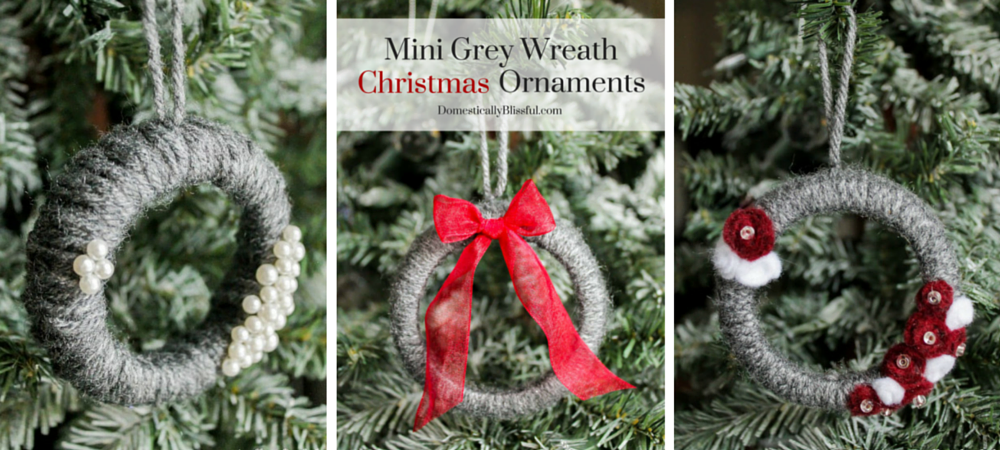 Mini Grey Wreath Christmas Ornaments