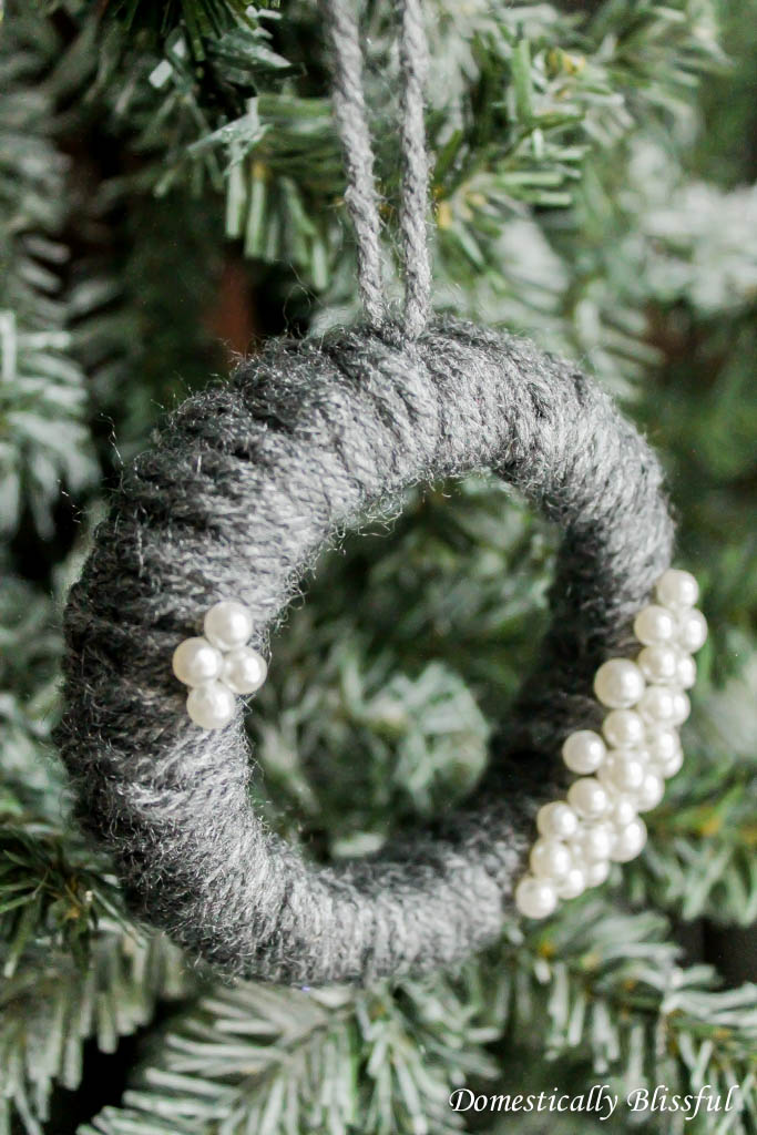 Yarn Wreath Christmas Ornament
