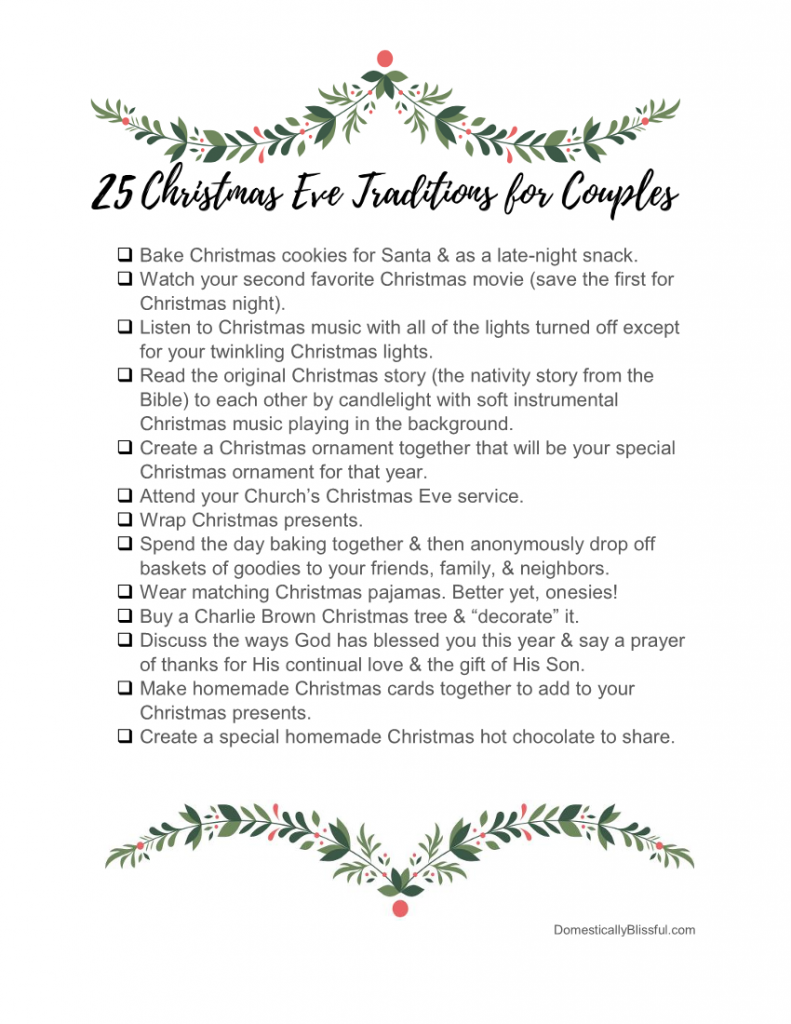 25 Christmas Eve traditions for couples to create a meaningful & memorable holiday.