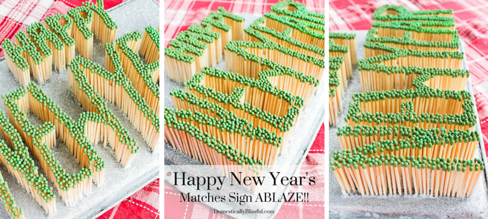 Happy New Years Matches Sign Ablaze