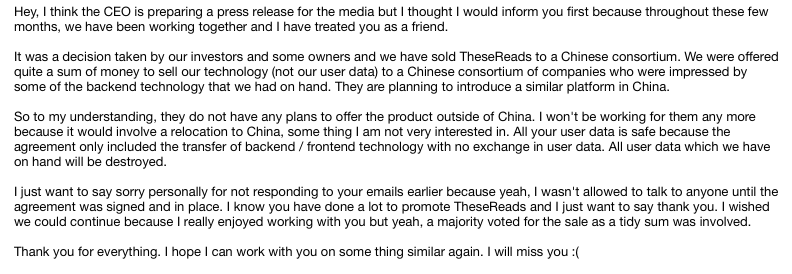 TheseReads Sold to China