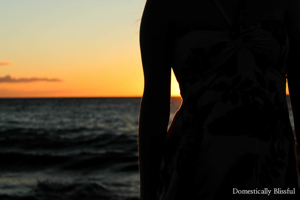 Souvenir dress at sunset in Maui