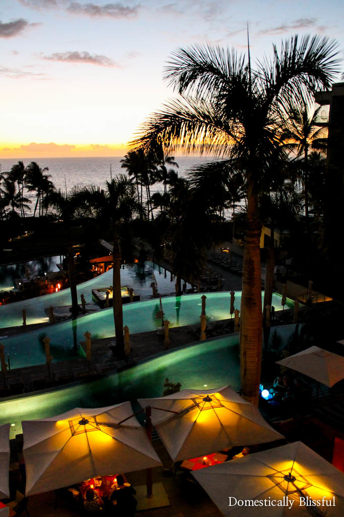 Sunset over the infinity pools at the Andaz Maui at Wailea Resort