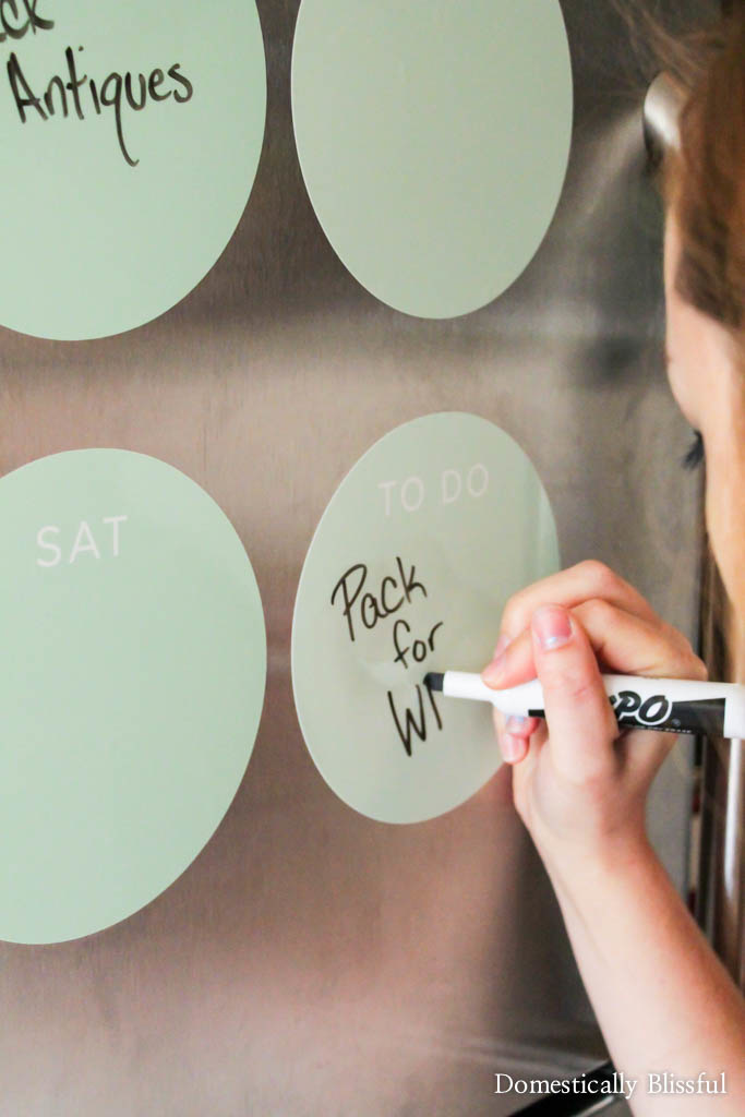 I love my mint Fathead dry erase weekly calendar!