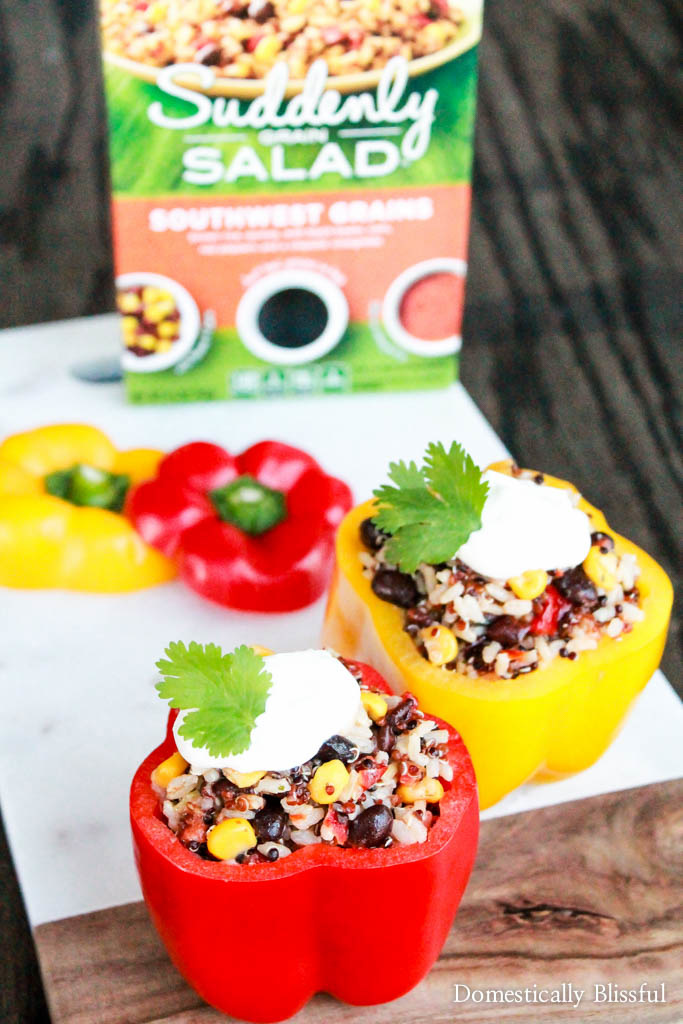 Southwest Grains Stuffed Peppers are a delicious appetizer, side, or main dish for a summer party or simply a dinner for two!