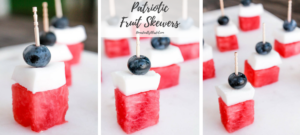 These Patriotic Fruit Skewers are a naturally sweet addition to all of your summer parties & get togethers!