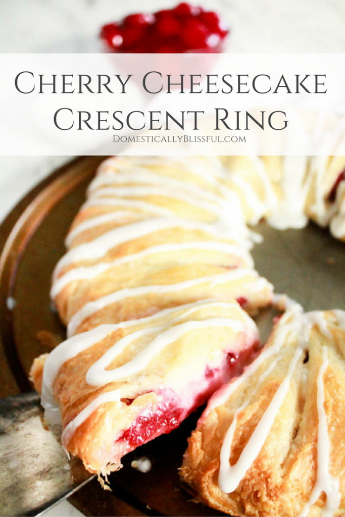 This Cherry Cheesecake Crescent Ring is delicious for breakfast, brunch, dessert, parties, holidays, or anytime you want a simple & quick treat!