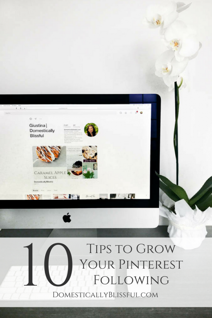 10 Tips to Grow Your Pinterest Following & how I grew my Pinterest following by over 600% (from 3,500 to 21,500) in one year using Pinterest scheduling.