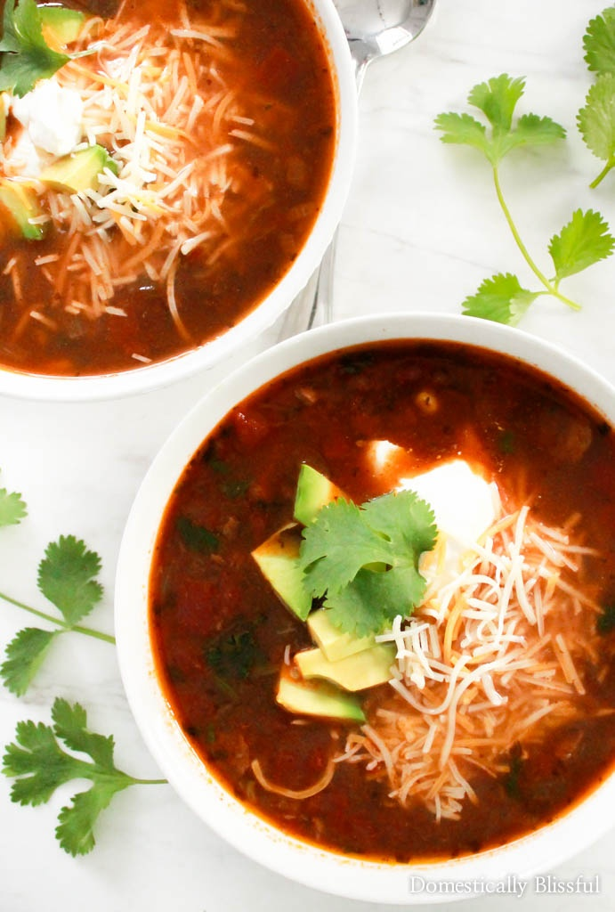 This Hearty Chipotle Black Bean Soup is full of flavor & a delicious vegetarian dish everyone will enjoy!