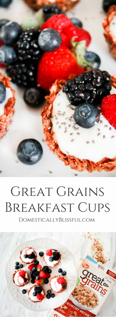 Great Grains Breakfast Cups are filled with yogurt & fresh fruit for a bright & nutritious breakfast.