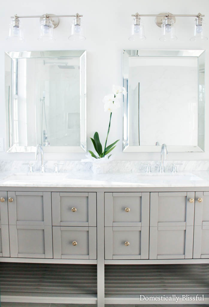 Master bathroom remodel before and after of a completely renovated 1980's bathroom.