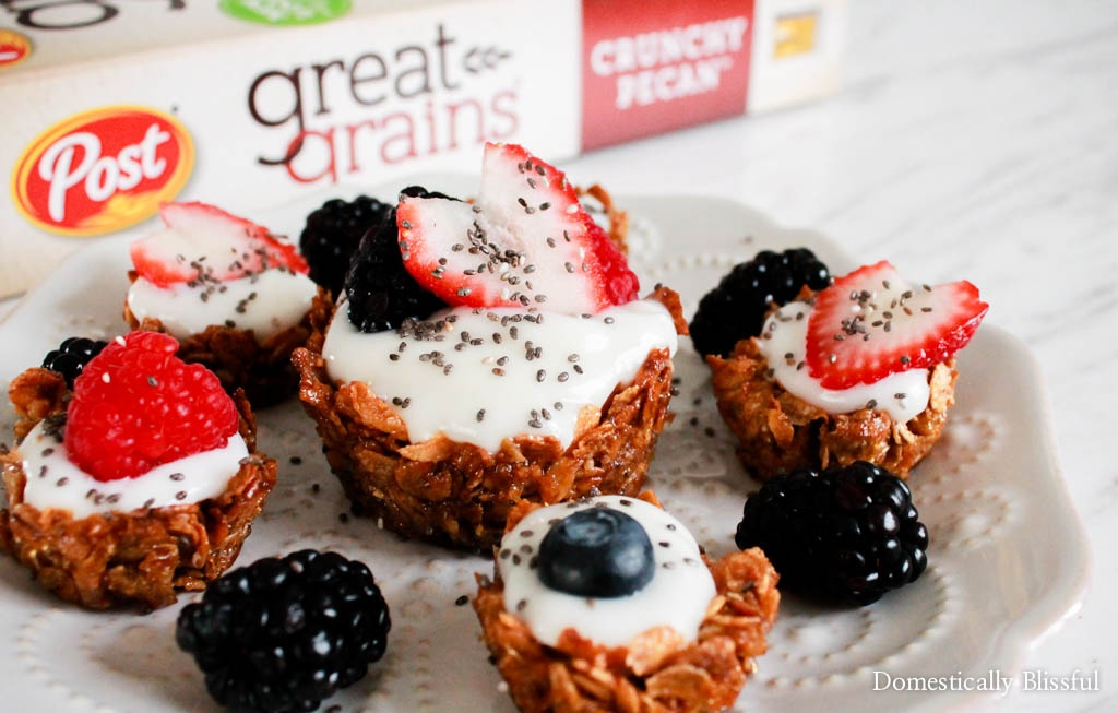 Great Grains Breakfast Cups filled with yogurt and fresh fruit for a bright and healthy breakfast.