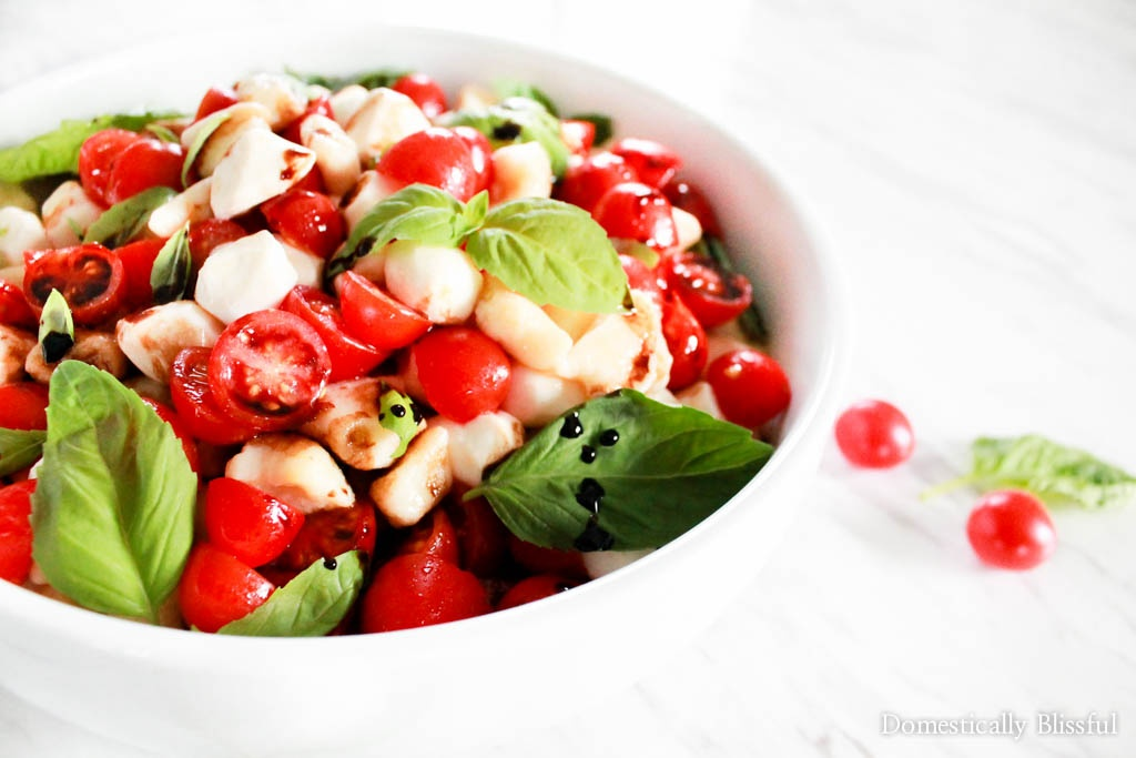 Quick Homemade Gnocchi Caprese Salad is filled with fresh flavors & can be handmade in under an hour & served as a special appetizer, side, or main course dish this summer.