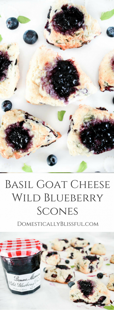 Basil Goat Cheese Wild Blueberry Scones are filled with a unique combination of flavors that are sure to please your tastebuds, along with your family & friends!