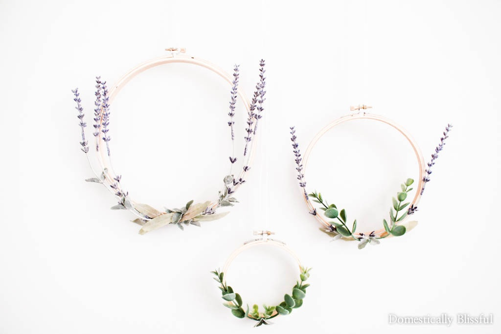 This Lavender Embroidery Hoop Wreath is simple to create & is a beautiful way to celebrate spring & summer in your home year after year.