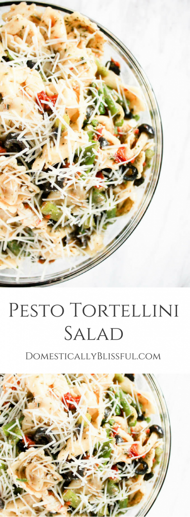 Pesto Tortellini Salad - Domestically Blissful