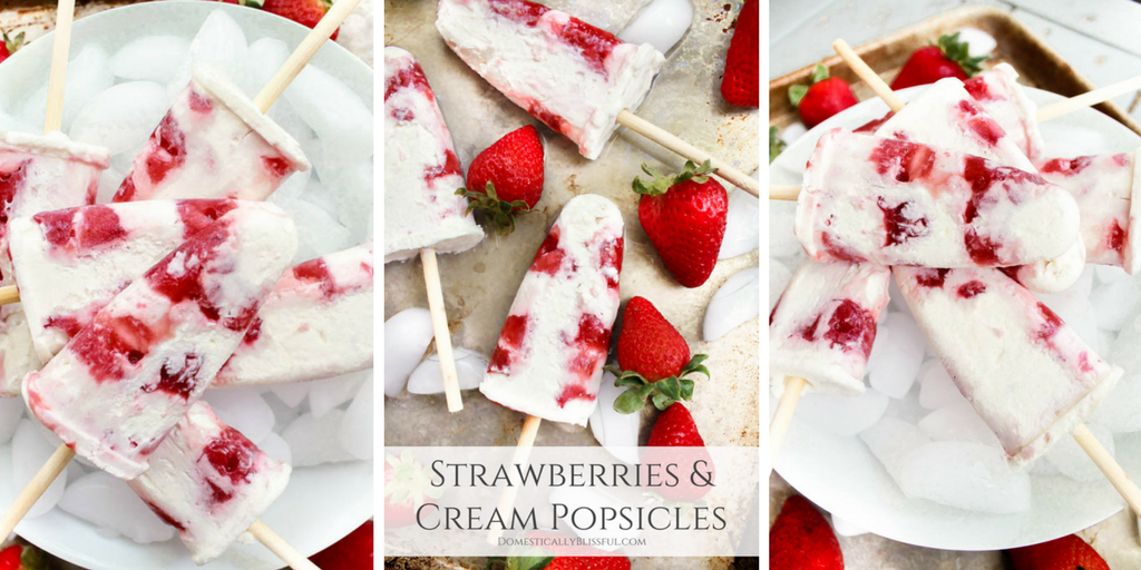 Strawberries & Cream Popsicles
