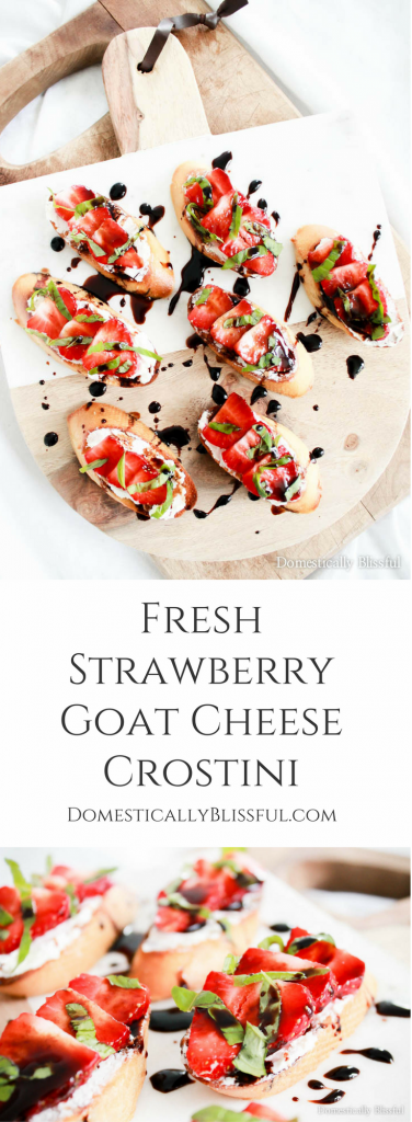 Fresh Strawberry Goat Cheese Crostini with balsamic reduction is the perfect summer appetizer for any party!