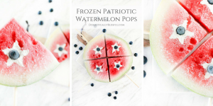 Frozen Patriotic Watermelon Pops are filled with whipped coconut cream & a blueberry to create the perfect summer treat for any red, white, & blue occasion.