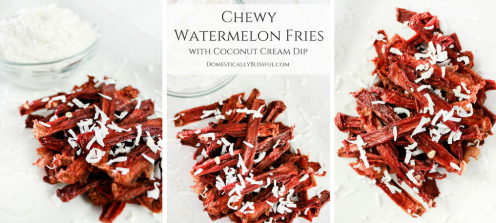 Chewy Watermelon Fries with Whipped Coconut Dip