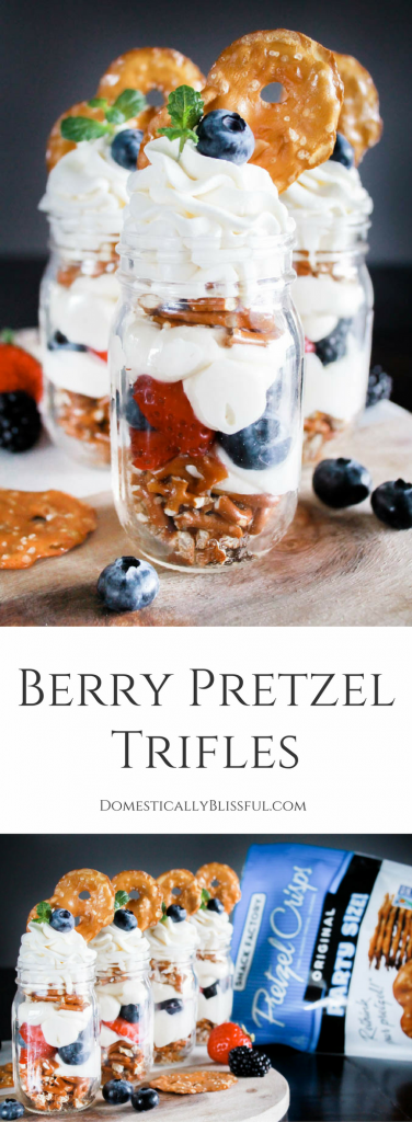 Berry Pretzel Trifles are a simple sweet & salty treat that is filled with fresh & creamy flavors!