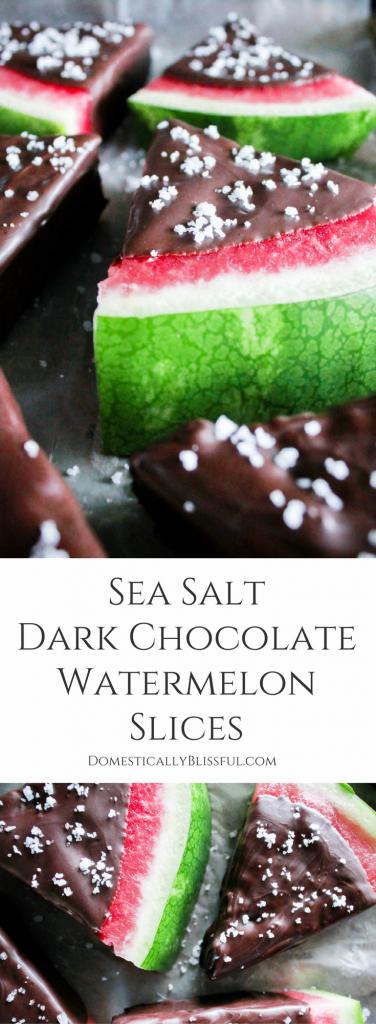 Sea Salt Dark Chocolate Watermelon Slices are bursting with fresh watermelon & the rich flavor of salted dark chocolate for the perfect summer sweet treat.