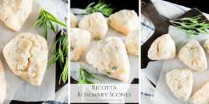 Ricotta Rosemary Scones are a scrumptious savory scone that can be enjoyed at breakfast, brunch, or anytime you are craving an herb scone!